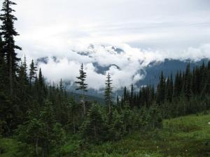 Glimpse of Glacier Peak through the clouds from Miner's Ridge